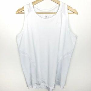 Nike Dri Fit Mesh Racerback Tank Top White